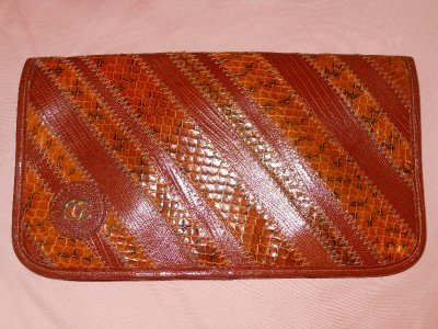 Mint OLEG CASSINI BROWN Clutch Purse Handbag Bag Leather Multiple Texture Emboss