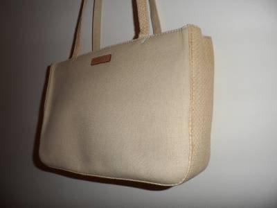 FOSSIL Tote Bag Shopper Beige Canvas Straw Medium