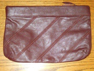 ANTONIA DESIGNS Leather Clutch Purse Handbag Burgundy Brown Medium size