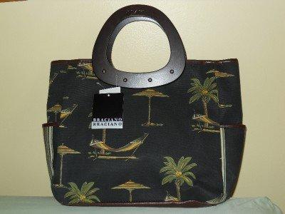 Lovely Bag! - BRACIANO - CANVAS w/ WOODEN HANDLES Beach Bag Tote Handbag Shopper