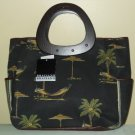 Lovely Bag! - BRACIANO - CANVAS w/ WOODEN HANDLES Beach Bag Tote Handbag Shopper