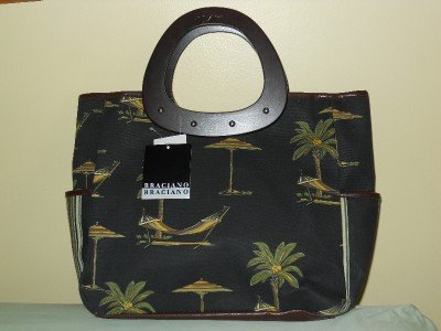 Braciano Tote Shopper Beach Bag Canvas w/ Wooden Handles - Excellent