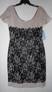Antonio Melani Color-Block Cocktail Pencil Dress Sz 8 Black Lace over Beige