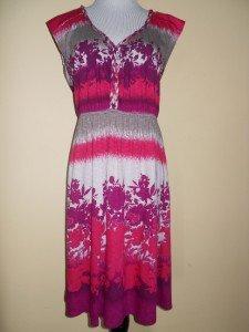 Sleeveless Summer Sundress Empire Waist Sz M Pink Red Beige NWT Cotton