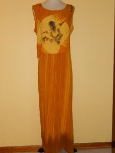 Summer Long Sundress Sleveles Orange Rayon Sz L Abstract Design from L'ESSENCE