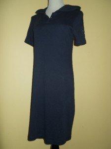 Ralph Lauren Petite Polo Dress Shirt Hoodie Sz P/S Navy Blue Cotton Top