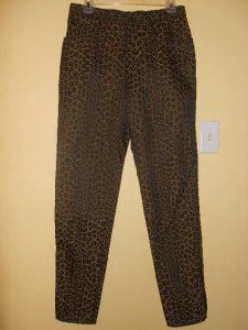 "Fendi Pants Jeans Stretch Brown Leopard Size12 Waist 31"" Inseam 31"" NWOT Italy"