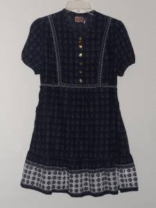 Juicy Couture Dress Tunic Sz L Navy Blue Summer 100% Cotton Tiered NEW
