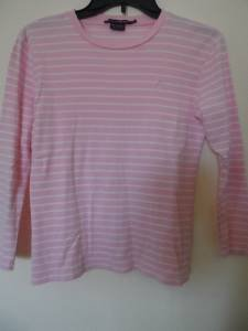 Ralph Lauren Sz M Shirt Top Pink White Cotton Striped EUC