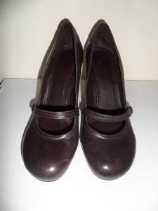 Pumps Shoes Brown Leather Gianni Bini Womens Heels Sz 7.5M Near Mint