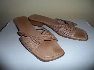 Sesto Meucci Leather Strappy Slides Sandals size US 9.5 M Beige Italy