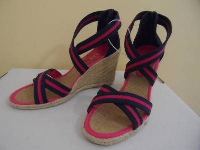 Ralph Lauren Leather Hemp Wedge Espadrilles Slingbacks Sz 9.5 M Navy Pink