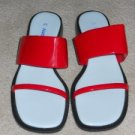 Naturalizer Strappy Sandals Slides Sz 6M / 36 Red Patent Leather Shoes Italy