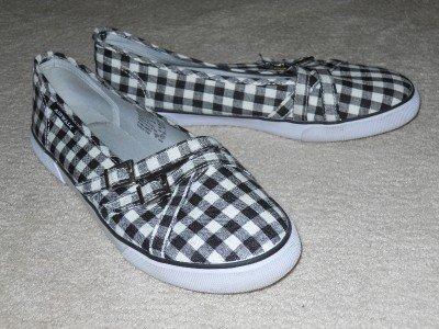 AIR WALK Sneakers Boat Shoes Black & White Canvas 8.5 EUC