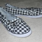 AIR WALK Sneakers Boat Shoes Black & White Canvas 8.5 EUC