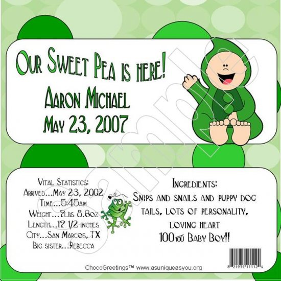 20 Personalized 1.55 oz Candy Wrappers Welcome Little Sweet Pea