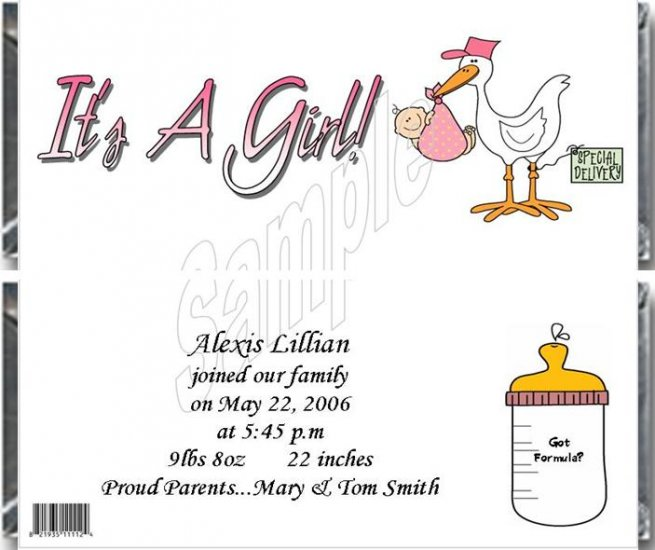 20 Personalized 1.55 oz Candy Wrappers -Stork! It's a Girl