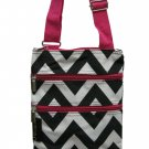 Black & White Chevron Utility Passport Bag