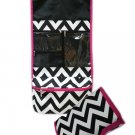Chevron Black & White Roll-up Cosmetic Bag-24""
