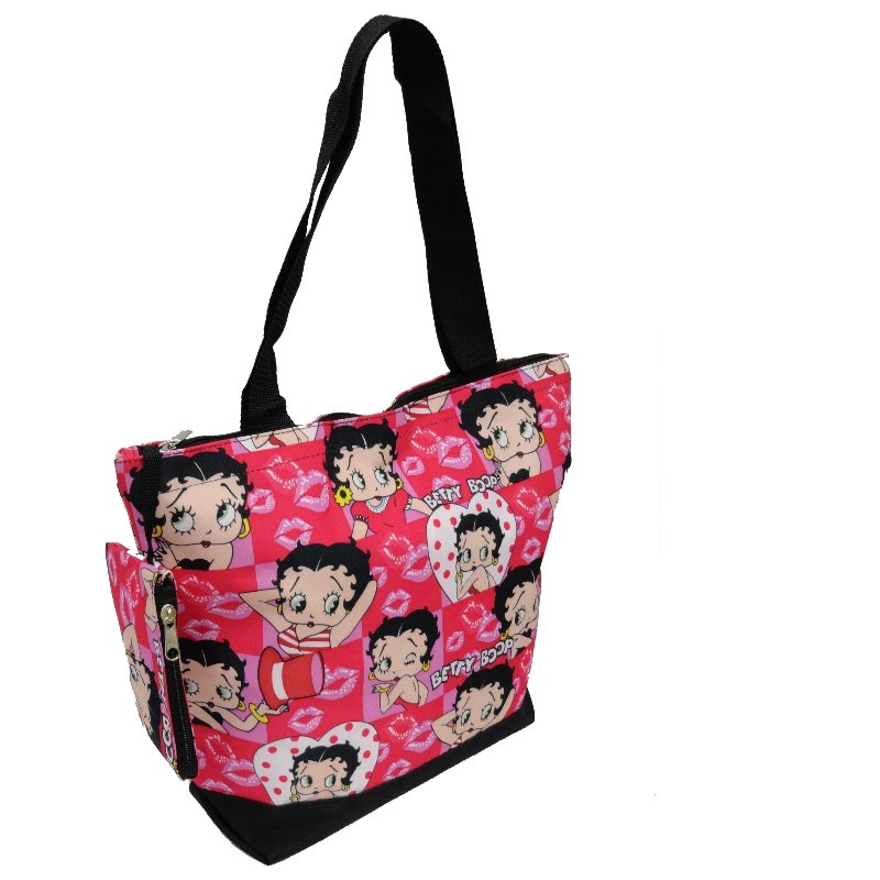 """Betty Boop Heads & Hearts Pink Shopping Bag - 17"""""""