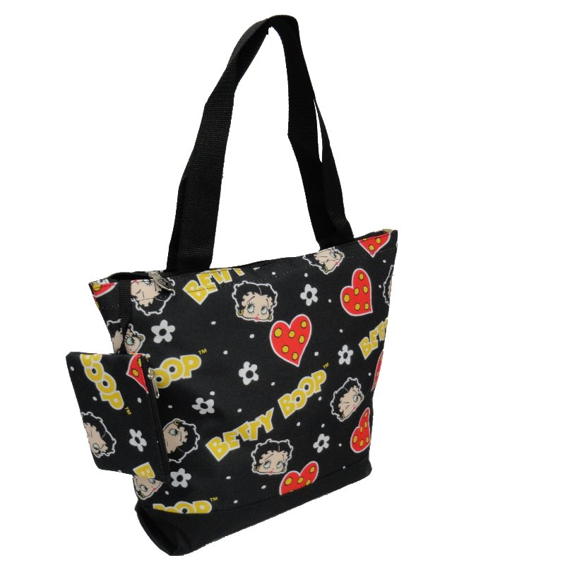Betty Boop Heads & Hearts Black Shopping Bag - 17""
