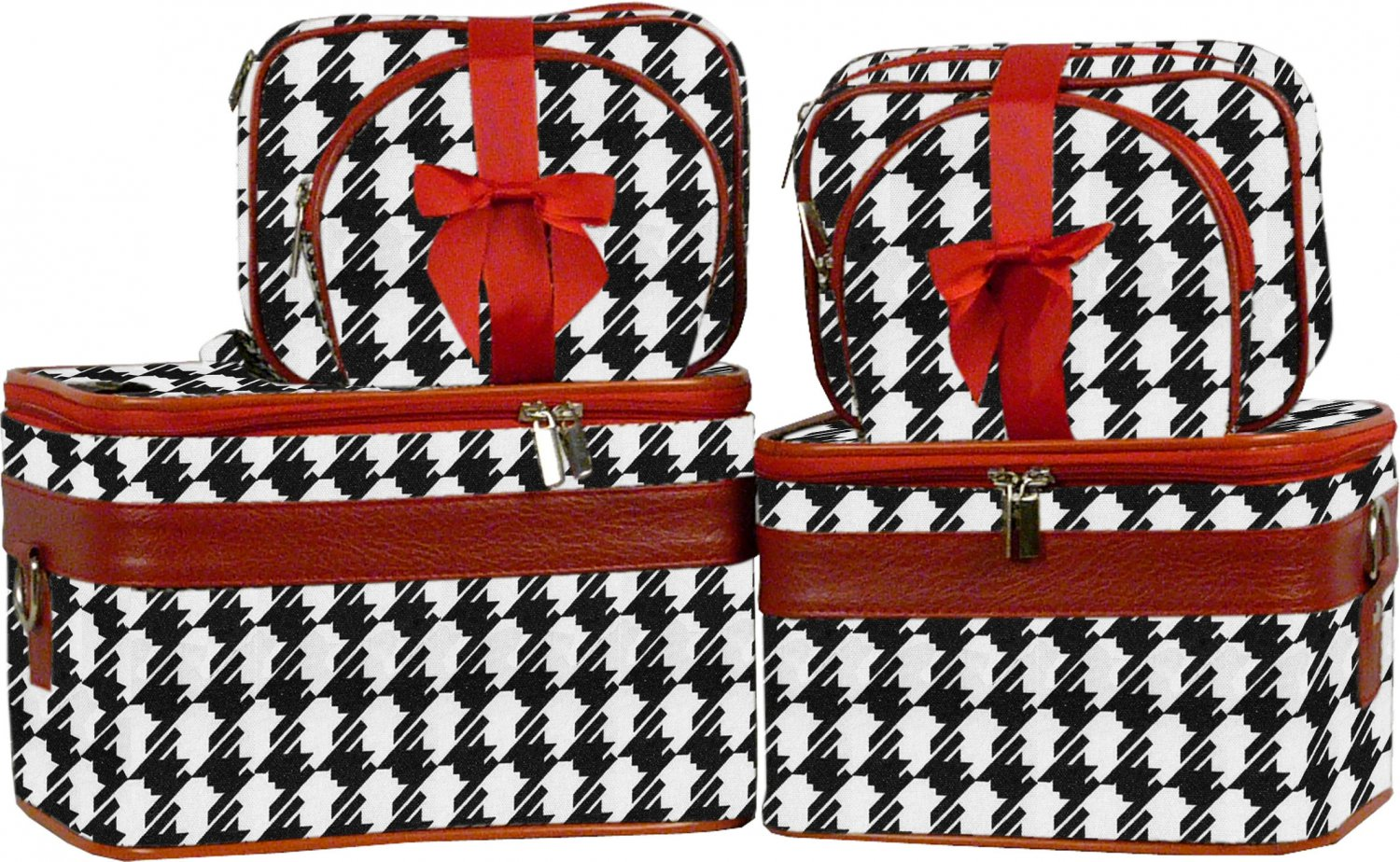 Houndstooth Cosmetic Case - 6 Pc