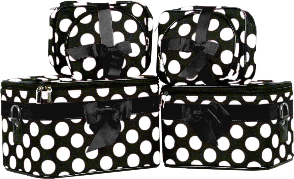 Big White Polka Dots Cosmetic Case - 6 Pc