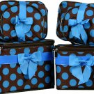 Blue Polka Dots Cosmetic Case - 6 Pc