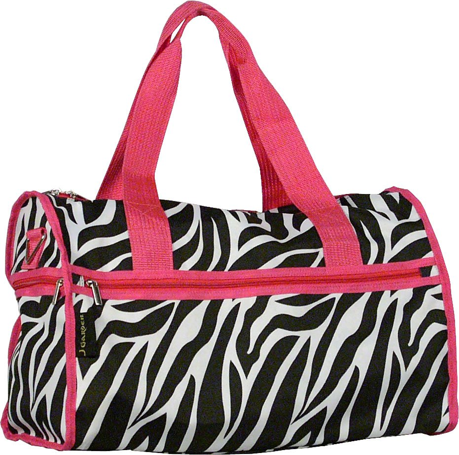 "Zebra Pink Trim Duffel Bag -19"""