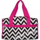 Chevron Black & White Duffel Bag - 19""