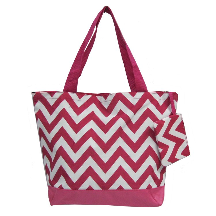 Chevron Fuchsia Shopping Bag 17""