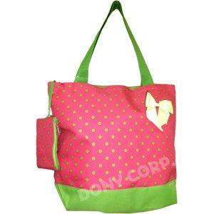 """Green Polka Dots Shopping Bag -17"""""""
