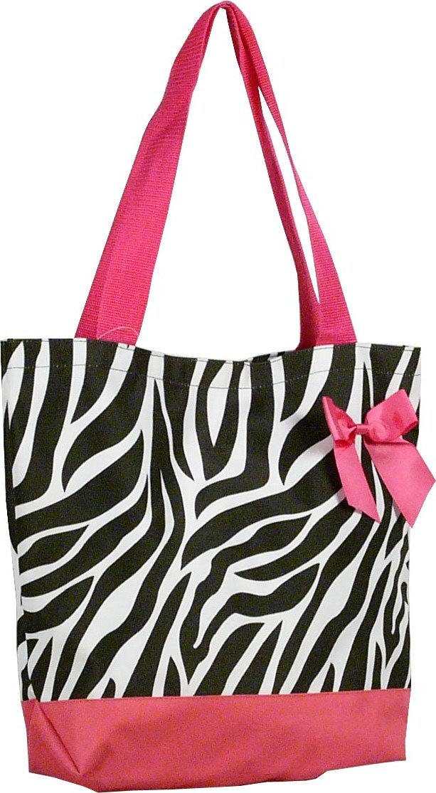 "Zebra Pink Trim Shopping Bag - 17"""