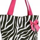 Zebra Pink Trim Shopping Bag - 17""