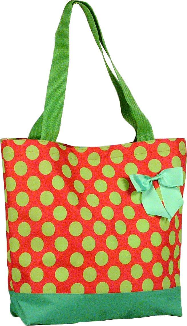 "Green Polka Dot Shopping Bag - 17"""