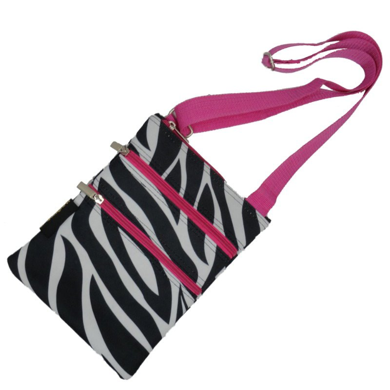 Zebra Pink Trim Passport Bag with 3 Zippers- 10""