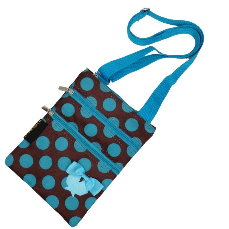 "Blue Polka Dots Passport Bag with 3 Zippers - 10"""