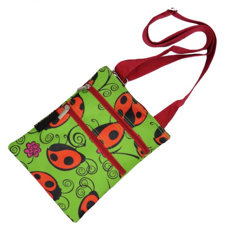 "Lady Bug 3 Zippers Passport Bag - 10"""