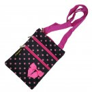 Pink Polka Dots 3 Zippers Passport Bag - 10""