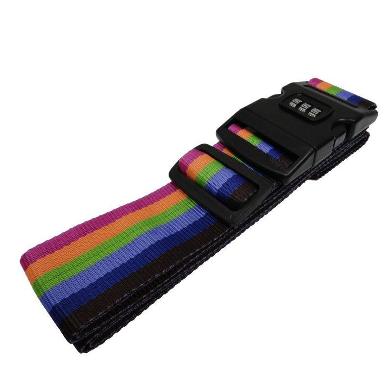 """Luggage Strap w/ Lock Buckle, Rainbow - 75"""""""