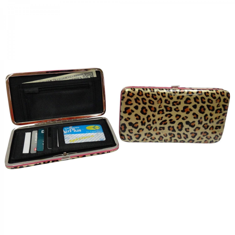 "Patent Leather Flat Wallet, Leopard - 7"""