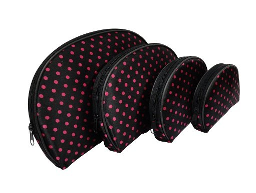 4 In 1 Cosmetic Bag, Black Pink Polka Dots