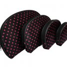 4 In 1 Cosmetic Bag, Black Pink Polka Dots