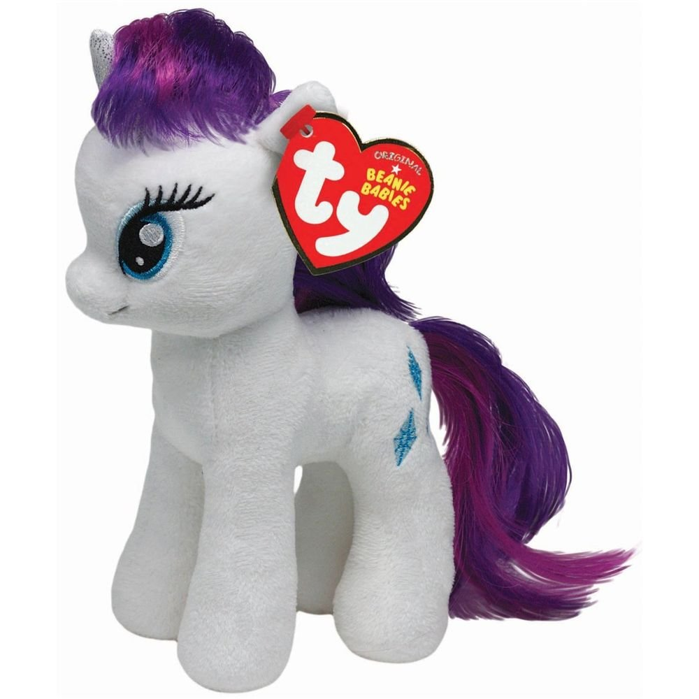 My Little Pony Ty Beanie Baby Rarity w/FREE PONY BLIND BAG