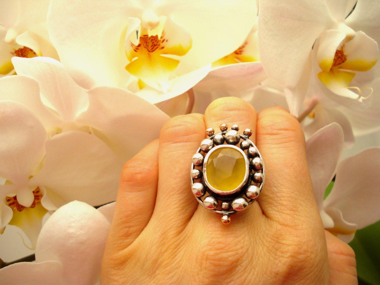 Sterling silver, Argentium, Rose 14 karat gold, Fire opal, Statement ring