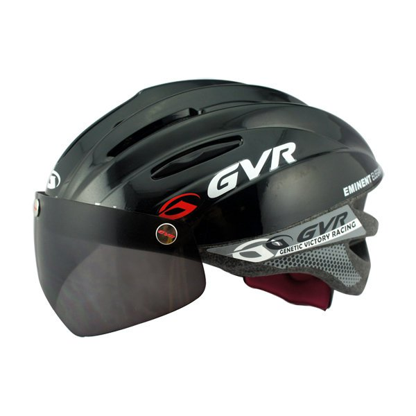 GVR Cycling Helmet G-203V With Magnetic Visor Solid - Black  Free Shipping !