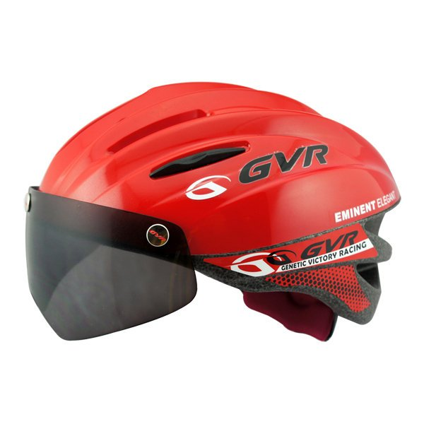 GVR Cycling Helmet G-203V With Magnetic Visor Solid - Red  Free Shipping !