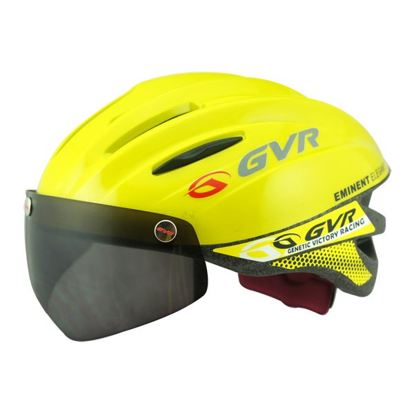 GVR Cycling Helmet G-203V With Magnetic Visor Solid - Yellow  Free Shipping !