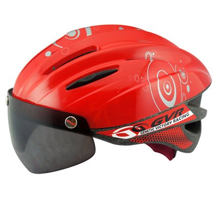 GVR Cycling Helmet G-203V With Magnetic Visor Bubble - Red  Free Shipping !