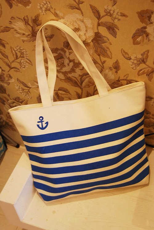 Women Canvas Tote Bag Blue White Lines Model WCT1123
